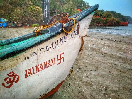 The swastika symbol painted on a fisherman's boat in India   © Lucy Plummer