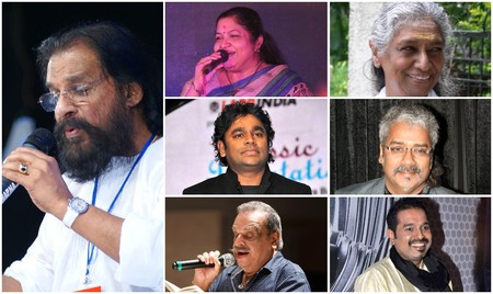 Singer collage. From left; Column 1 - KJ Yesudas. Top to bottom; Column 2 - KS Chitra, AR Rahman, P Jayachandran. Column 3 - S Janaki, Hariharan, Shankar Mahadevan