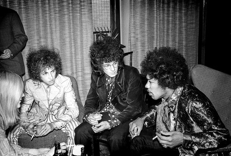 Jimi Hendrix at a party before his show