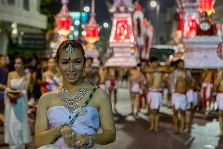 You can see processions for the Loy Krathong festival in November