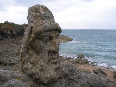 One of over 300 sculptured rocks in Rothéneuf