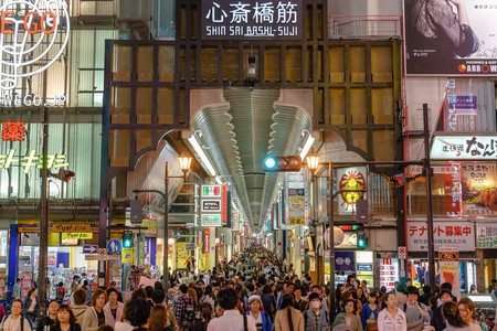 Shoppers crowd the Shinsaibashisuji shopping arcade at all hours.