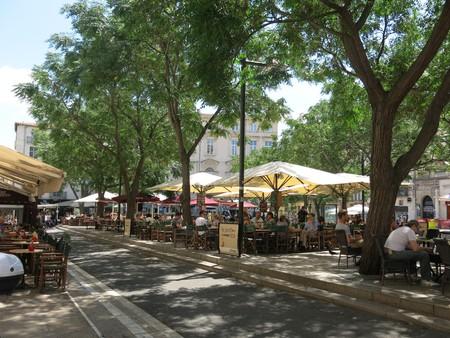 Bustling Place Jean Jaures in Montpellier