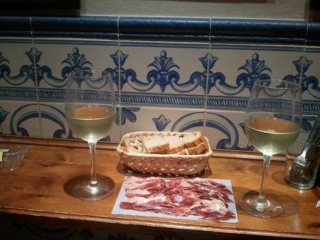 Jamon and wine at Taberna Casa Curro