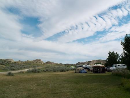 Hoodoo backdrops at Dinosaur Campground