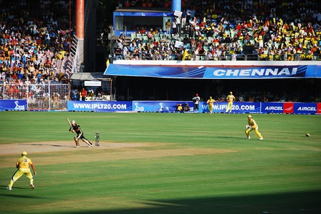 An IPL match between CSK and KKR being played at the Chepauk Stadium