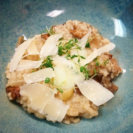 Risotto with local and wild mushrooms, Parmesan, and poached egg