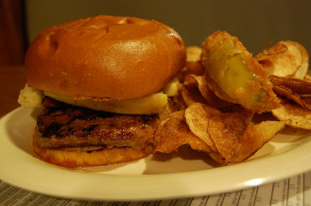 Elvis burger with fried pickles and chips
