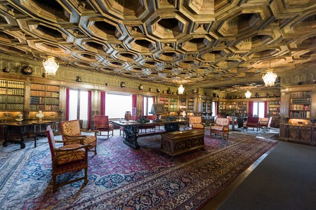 Grand study room with attached library at Hearst Castle, California