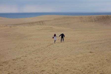 Couple Running (Tottori Sakyu, Sand Dunes, Japan)