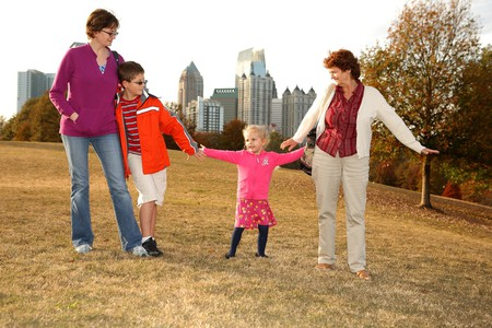 Family in Piedmont Park in Atlanta