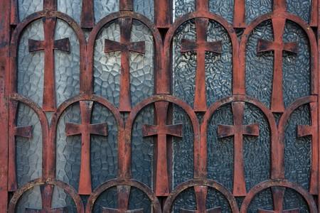 Cross lattice on the windows of a small church between Syntagma and Monastiraki Squares