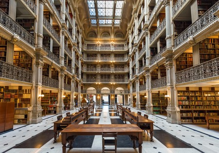 The 19th century George Peabody Library, Peabody Institute, Johns Hopkins University, Baltimore, Maryland