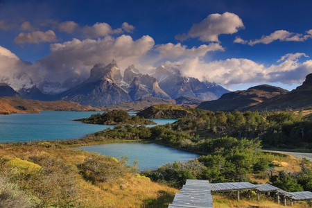 Chile, Patagonia, Torres del Paine National Park (UNESCO Site), Cuernos del Paine peaks and Lake Pehoe