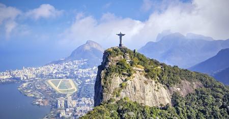 Aerial view of Rio de Janeiro city skyline in Brazil.