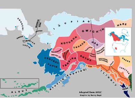 Map showing indigenous languages in Alaska