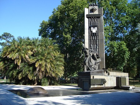 A statue of Evita outside the National Library in Barrio Norte