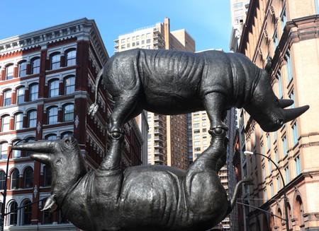 """""""The Last Three"""" Rhino Installation in NYC. ©Thomas Hoebbel Photography"""
