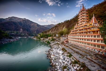 A sectional view of the Rishikesh Temple located on the banks of the Ganges River