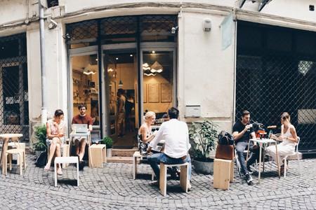 A quiet walking street outside Kontakt, Budapest | Courtesy of Kontakt Speciality Coffee