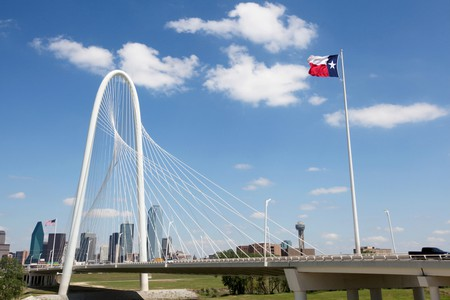The Margaret Hunt Hill Bridge in Dallas, Texas