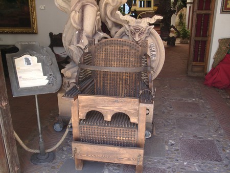 Sitting comfortably? A chair used during the Spanish Inquisition on display at the Mueso Lara