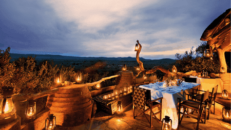 Outdoor dining area at Dithaba Lodge