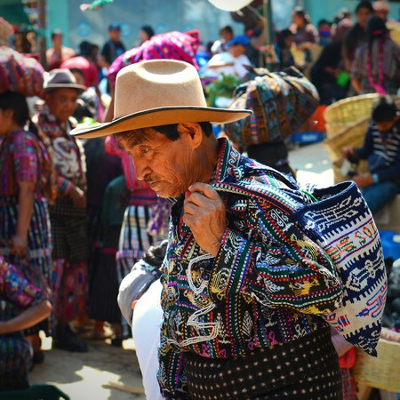 Maya man at the market in Sololá, Guatemala