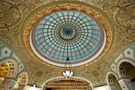 Over 30,000 pieces of glass make up the dome in Chicago's Cultural Center