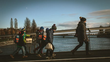 Kids in Lake Constance on their way to school