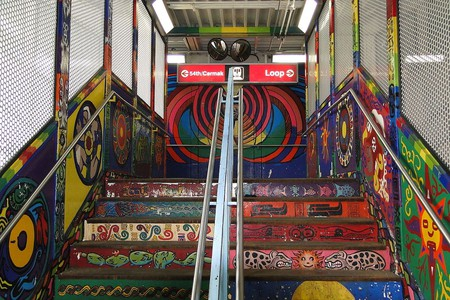 The Red Line station on 18th Street in Pilsen offers just a glimpse of the street art throughout the neighborhood
