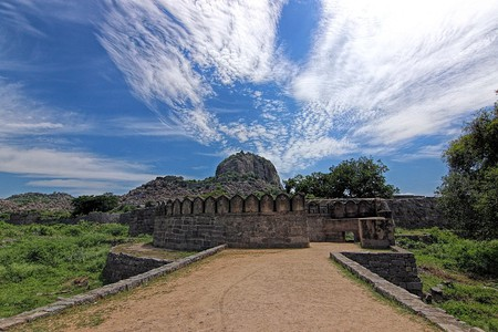 The entrance of the Gingee Fort with a view of its three surrounding hills