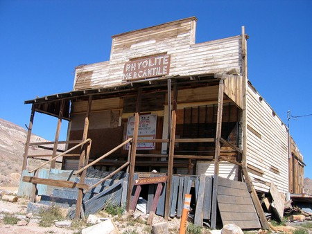 Rhyolite Mercantile, an abandoned general store, burned to the ground in September 2014 after being hit by lightning