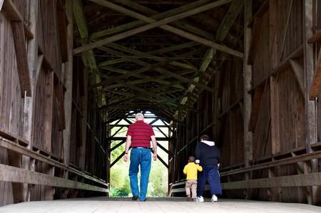 Walking inside the Felton Covered Bridge