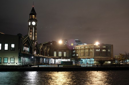 Hoboken Terminal at night.