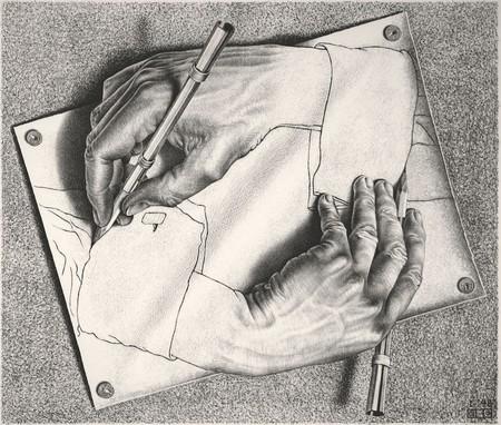 M. C. Escher, 'Drawing Hands' | @ 2018 The M.C. Escher Company.