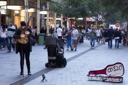 Busker in Pitt St Mall, Sydney