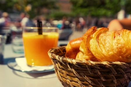 Freshly baked croissants and squeezed orange juice