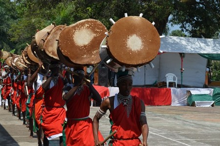 A procession of the royal drummers of Burundi