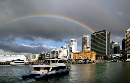 Pulling into Auckland Harbour
