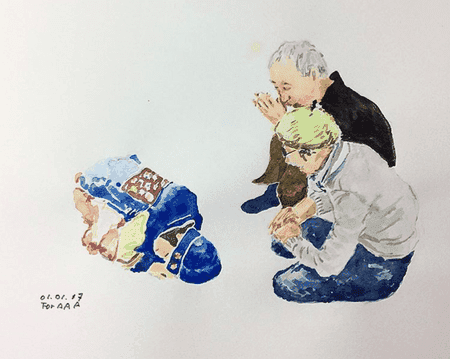 A work by Grandpa Chan depicting a family memory of a Korean holiday. | © Chan Jae Lee