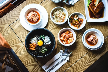 A Korean dinner spread.