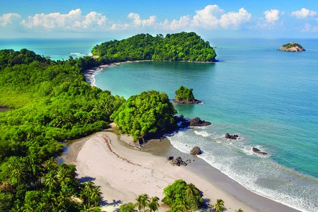 Costa Rica's Manuel Antonio National Park is made up of a lush rainforest, beach, and coral reef
