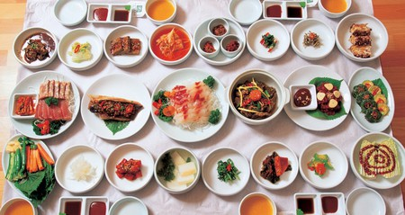 A spread of Korean dishes