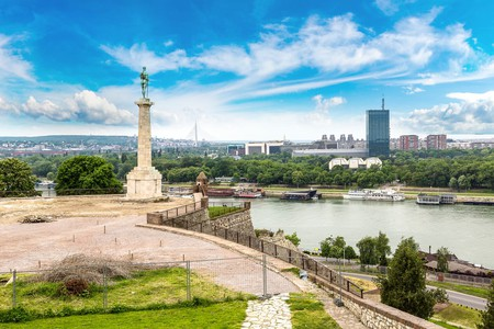 The Pobednik monument and fortress Kalemegdan in Belgrade, Serbia