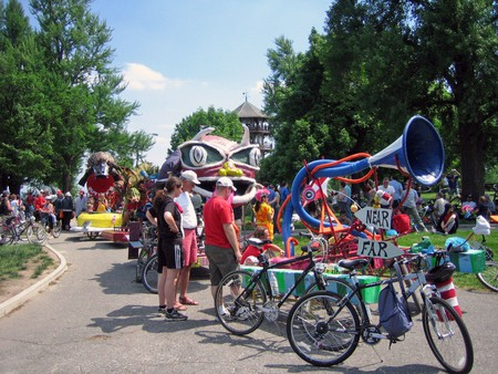 Lineup at the Kinetic Sculpture Race in Baltimore.