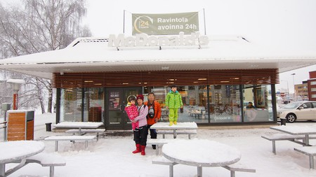 A snow-covered McDonald's restaurant in Finnish Lapland.