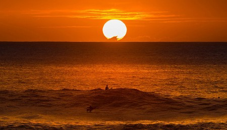 Sunset surfing on Oahu