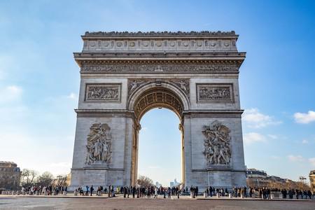 The imposing Arc de Triomphe in Paris
