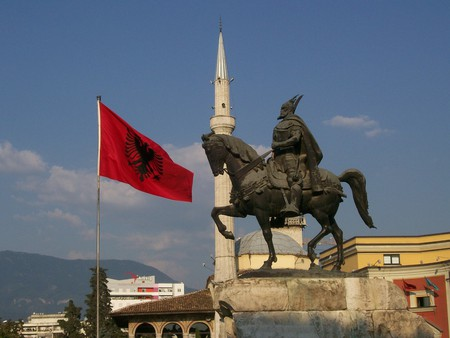 The statue of George Kastriota Skanderbeg in Skanderbeg Square, Tirana